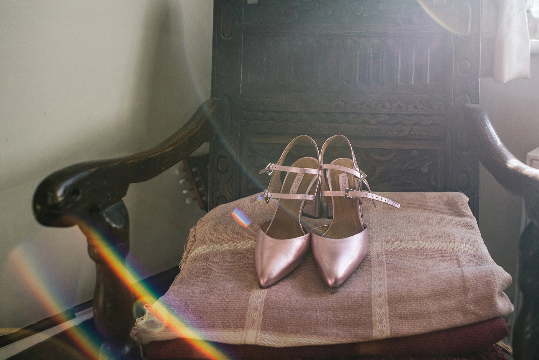 wedding shoes in golden light