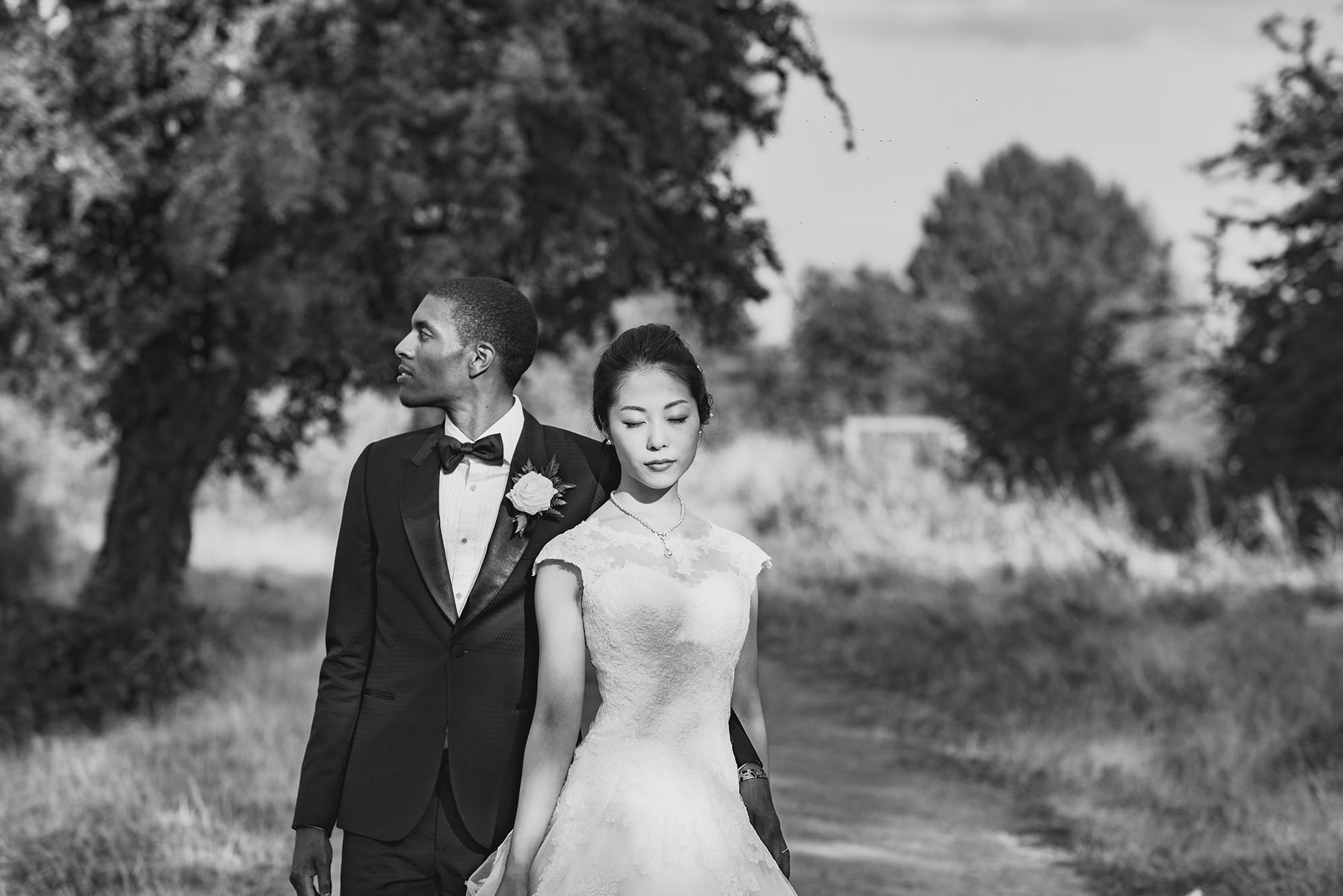 black and white portrait bride and groom Oxford