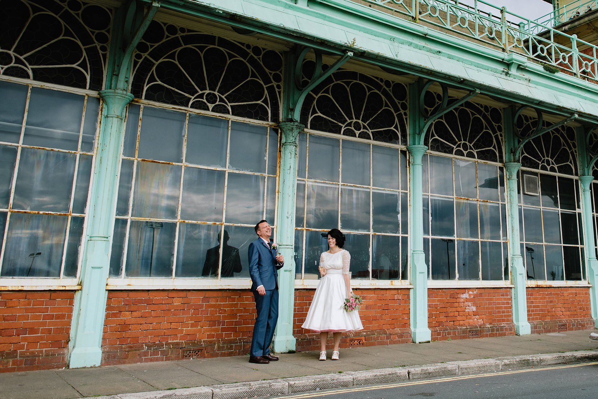 architectural wedding photography, bride an groom outside Concord 2 Brighton