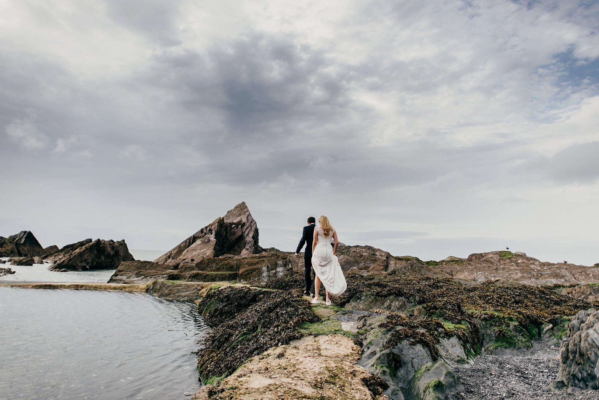 bride and groom Tunnels Beaches Devon