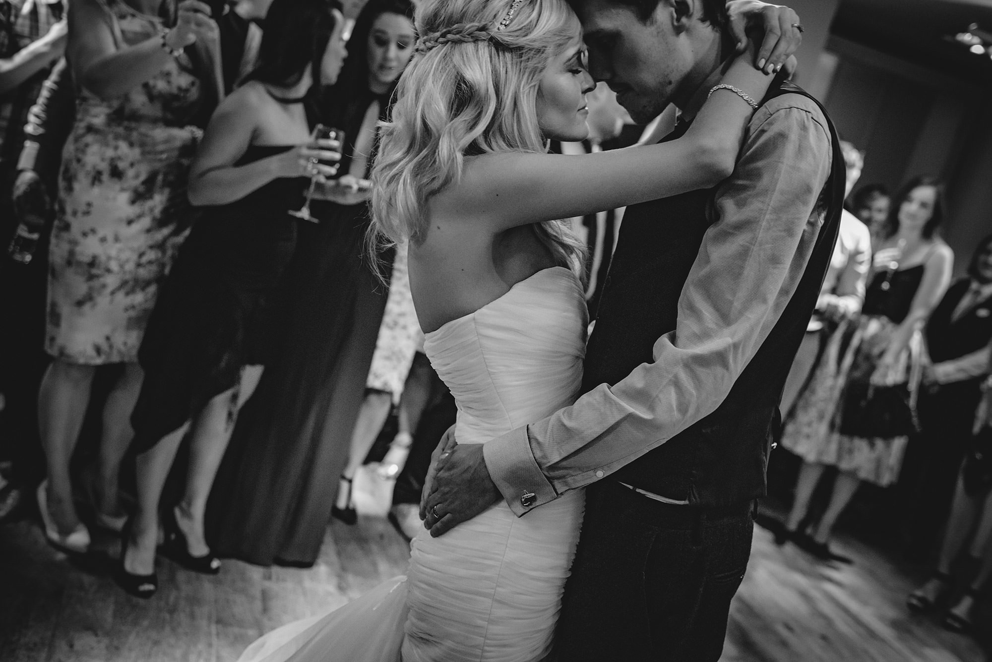 romantic first dance photo in black and white