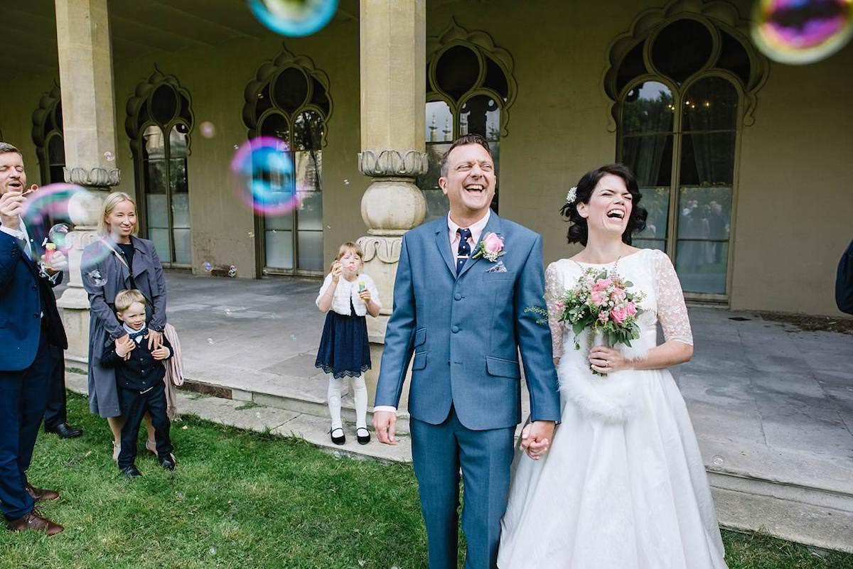 bride and groom bubbles