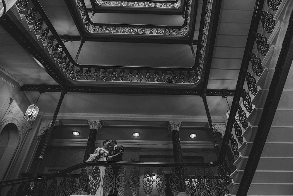 The Grand Hotel Brighton wedding, wedding photos at the Grand Brighton, The Grand Staircase wedding photo