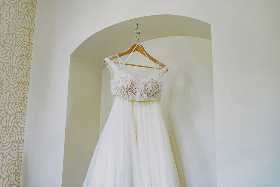 wedding dress hanging in nonsuch mansion