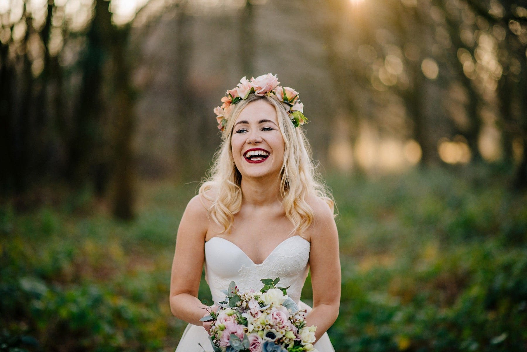 golden hour bridal portrait with bride wearing alice temperley and floral crown
