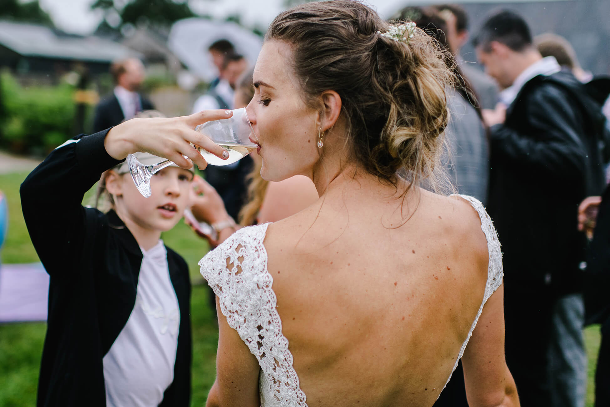 bride drinking wine