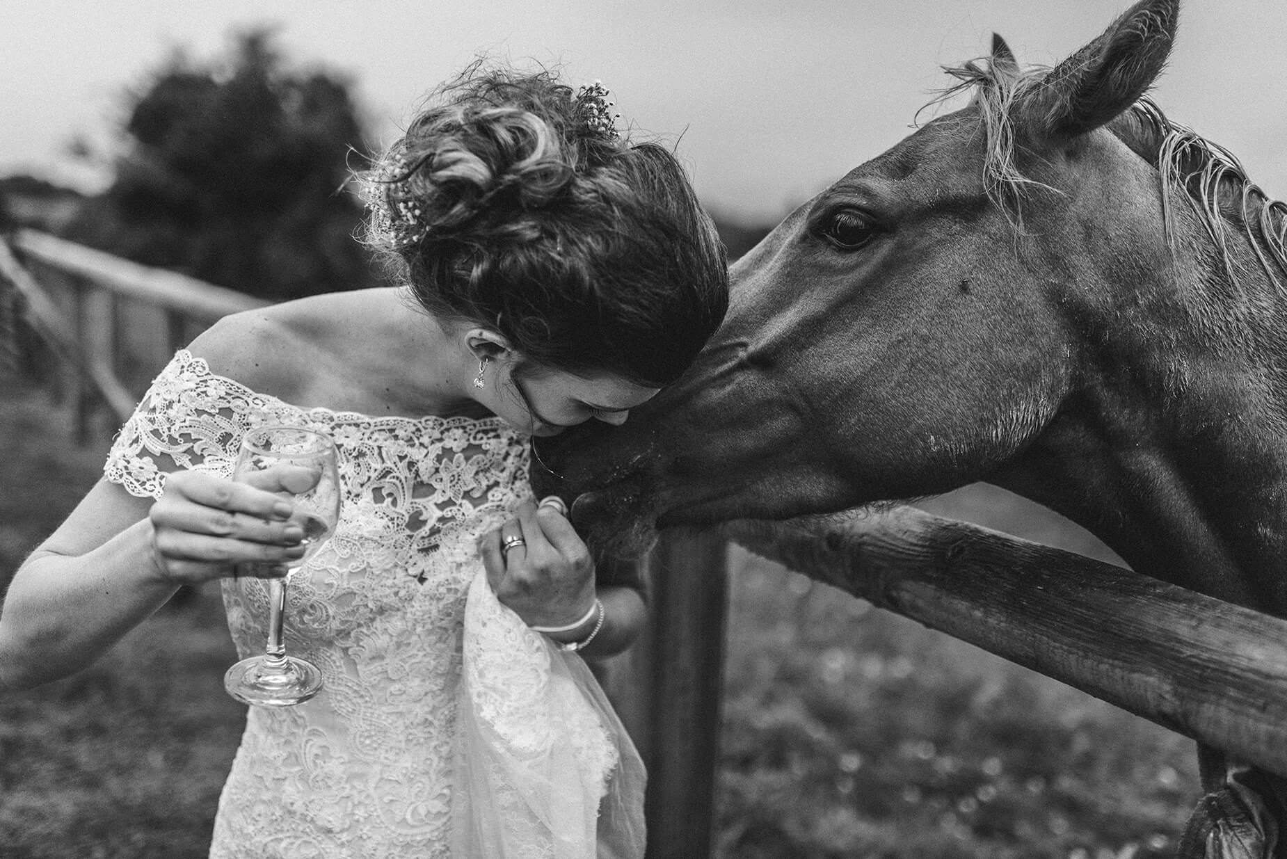 bride kissing a horse on her wedding day