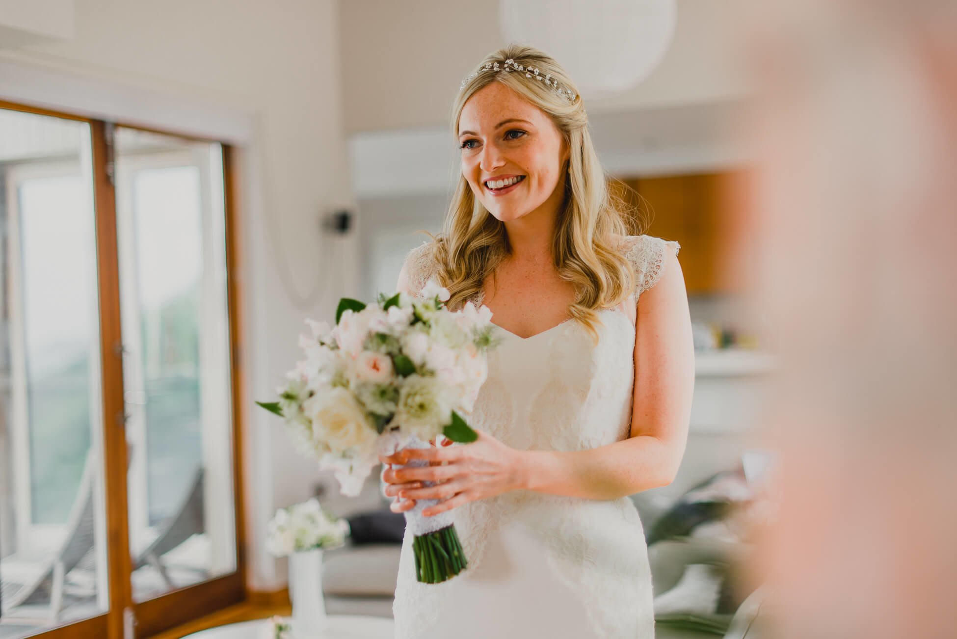 smiling bride before her wedding