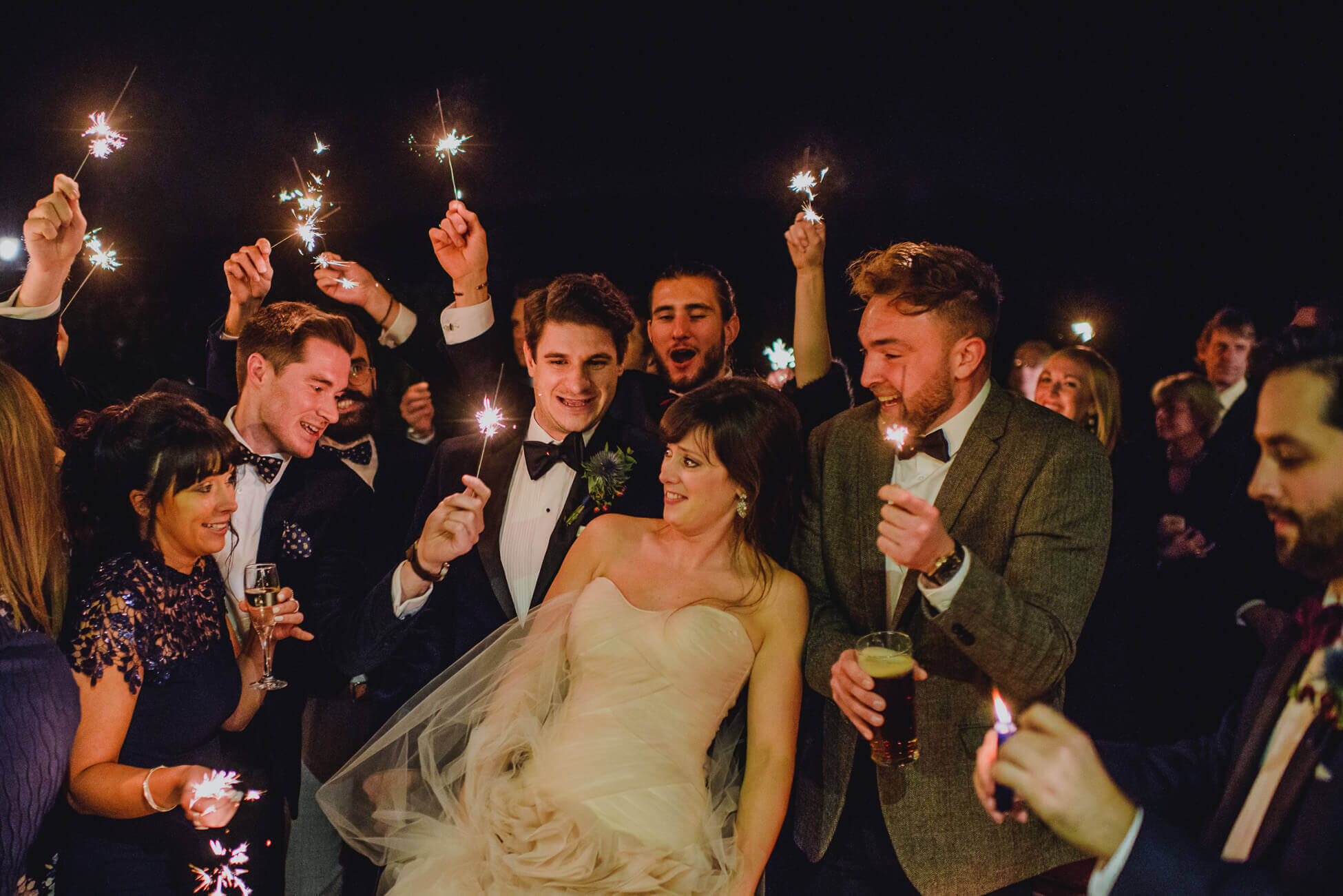 bride recoiling form wedding sparklers brighton wedding