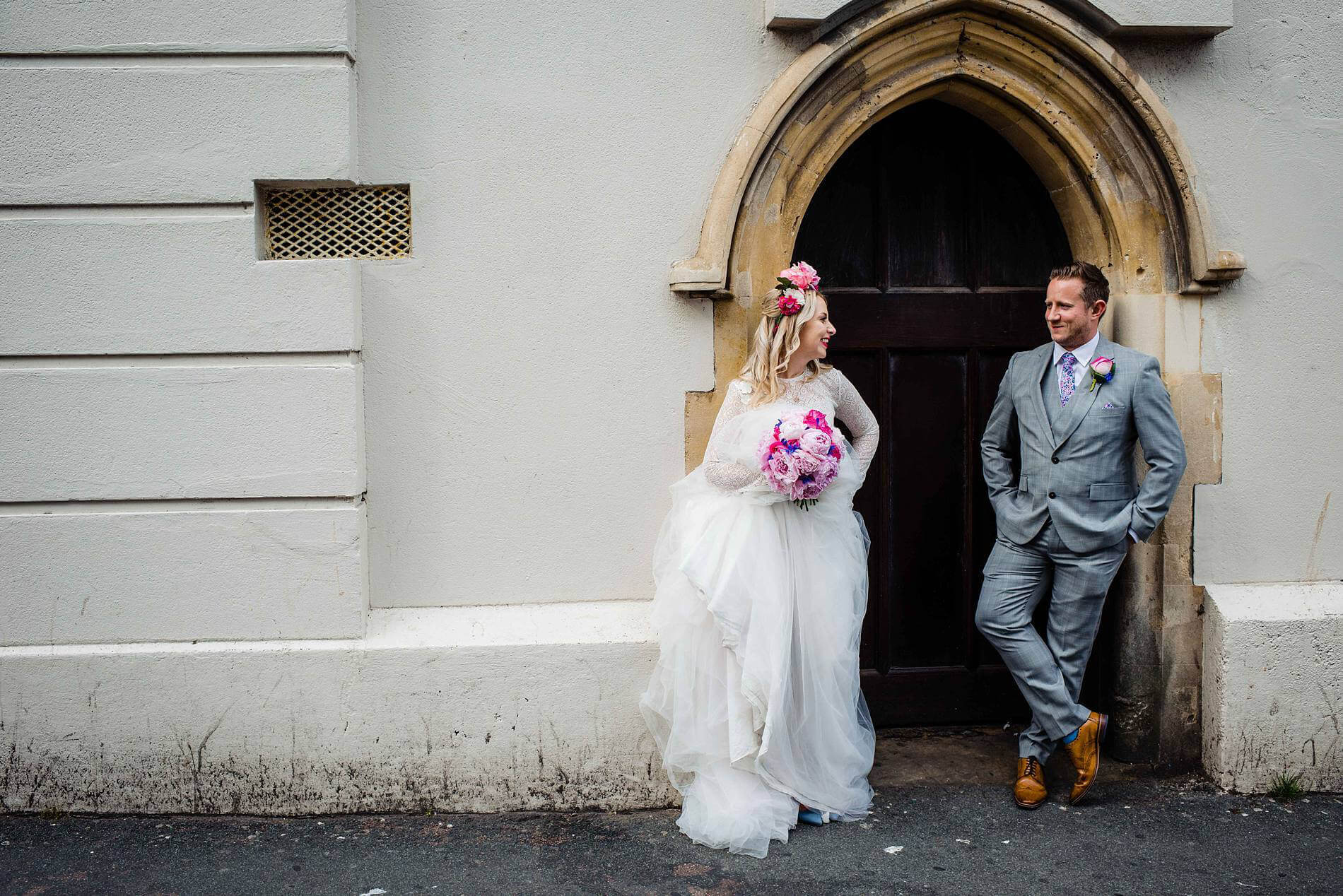 bride and groom in doorway