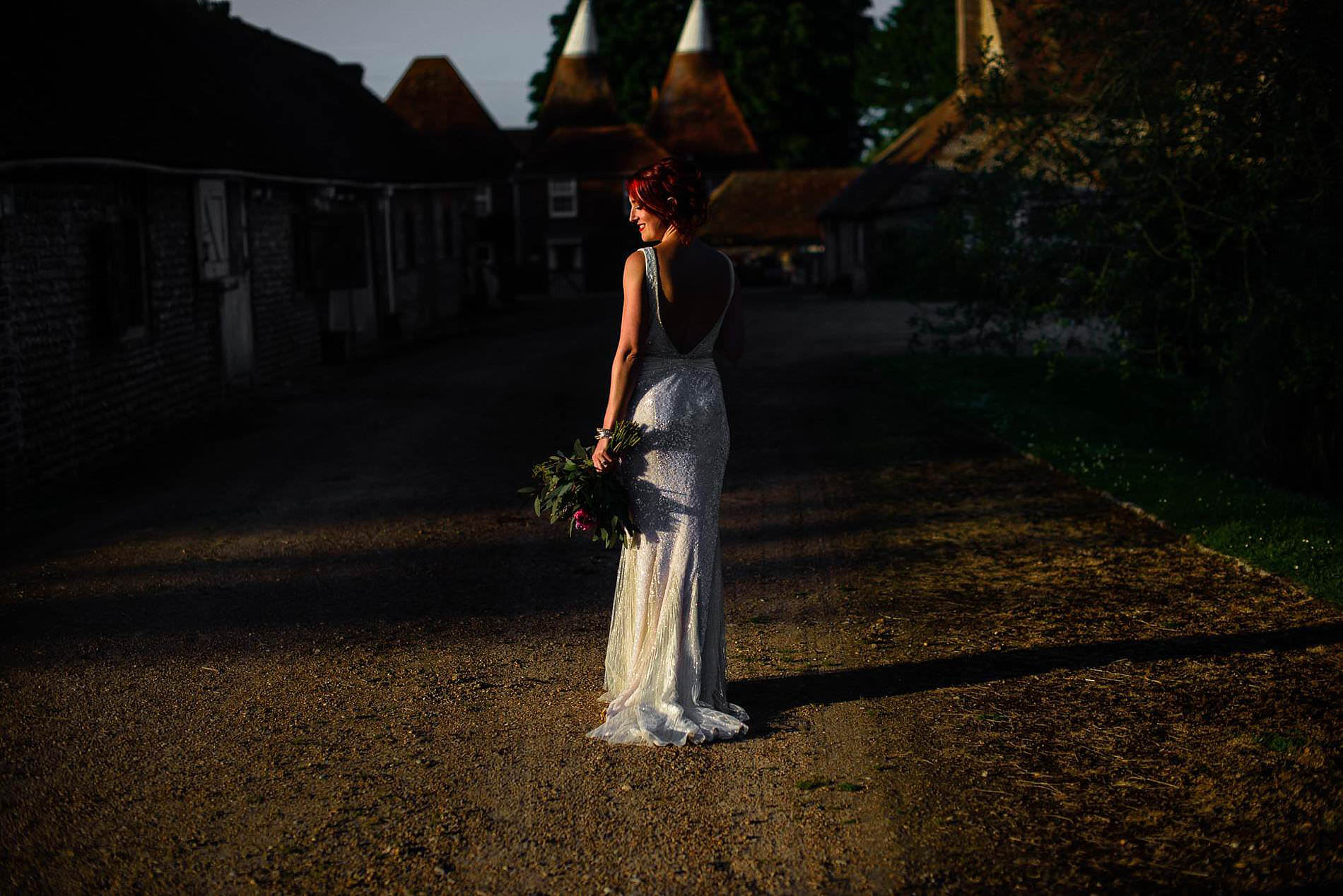 bride in late summer light