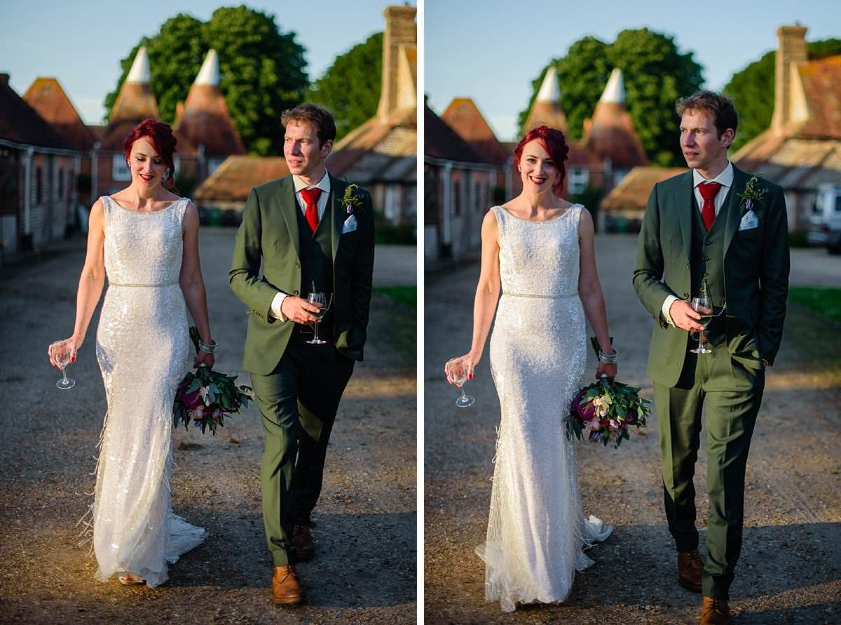 bride and groom walking in the evening sun