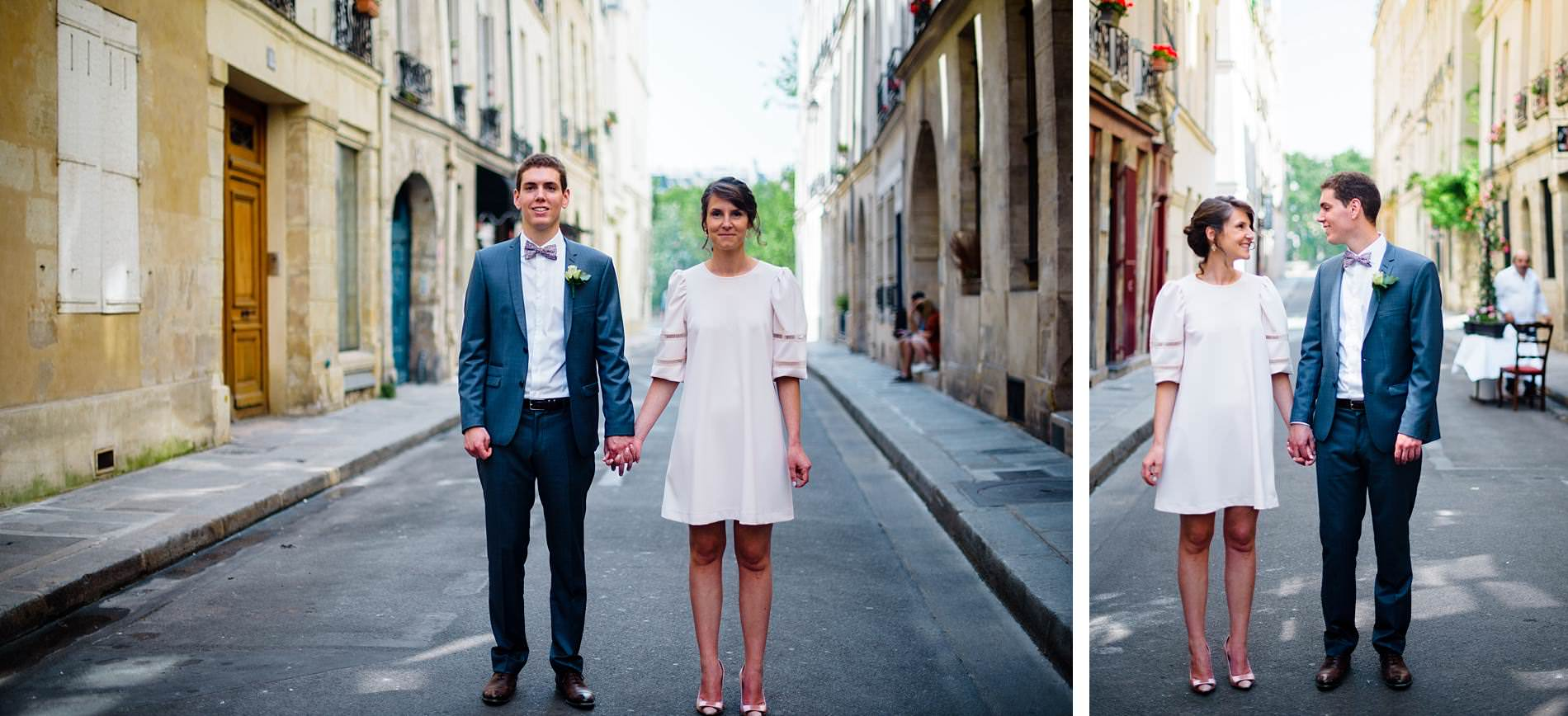 paris destination wedding bride and groom on the streets of paris