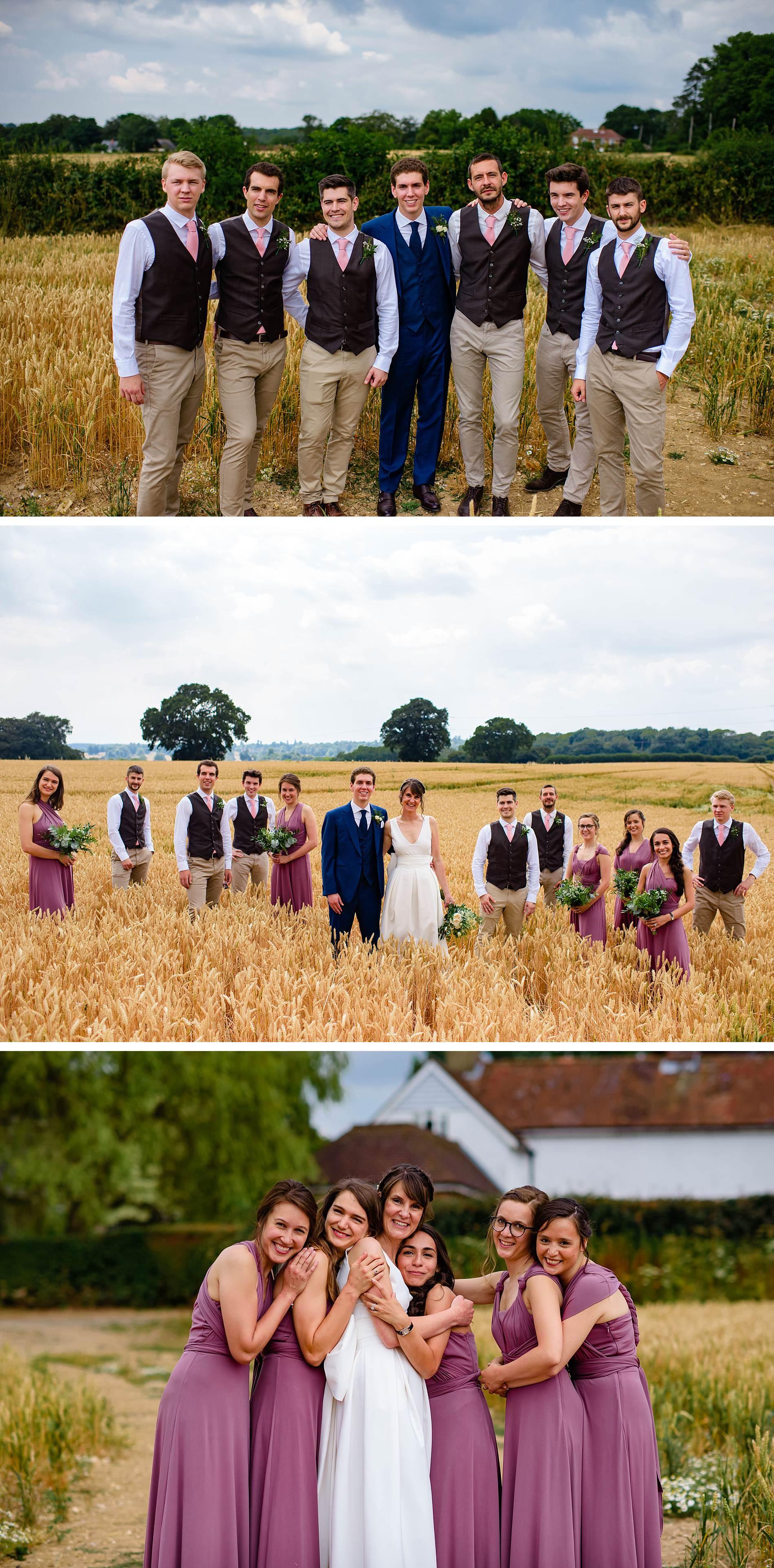 bridal party at The Long Barns Hampshire