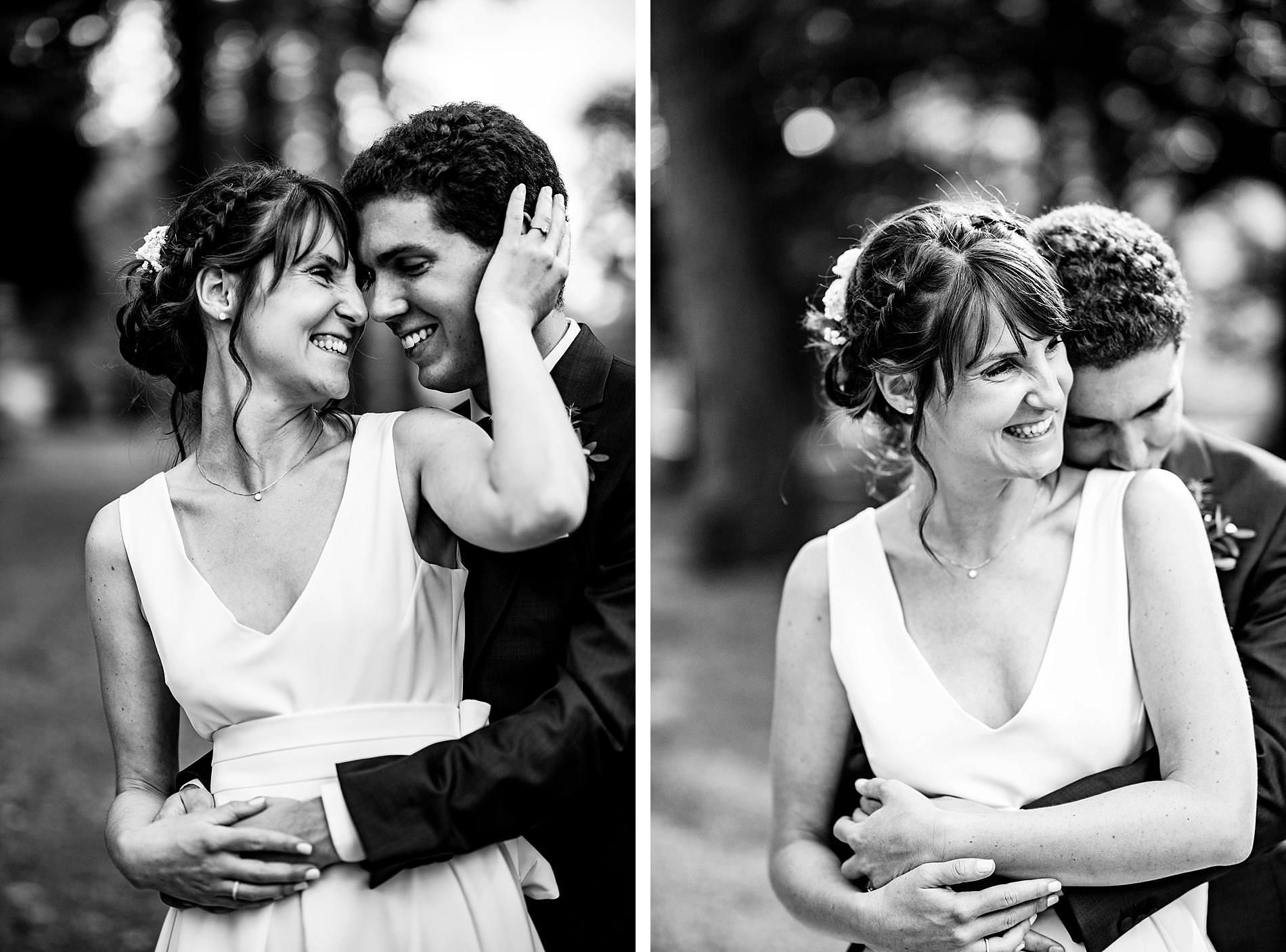Bride and groom at The Long Barns Hampshire