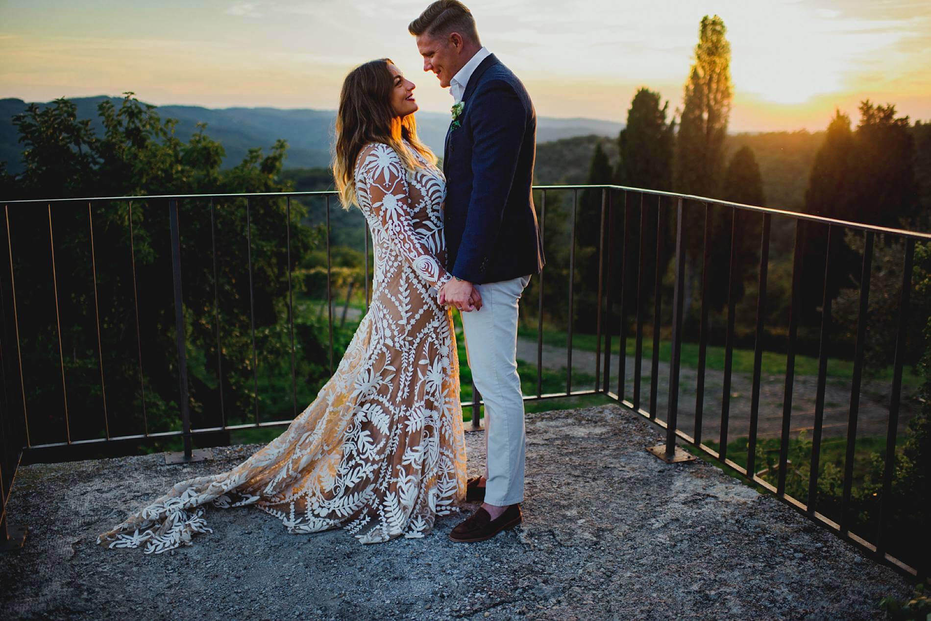 bride and groom in Italian sunlight