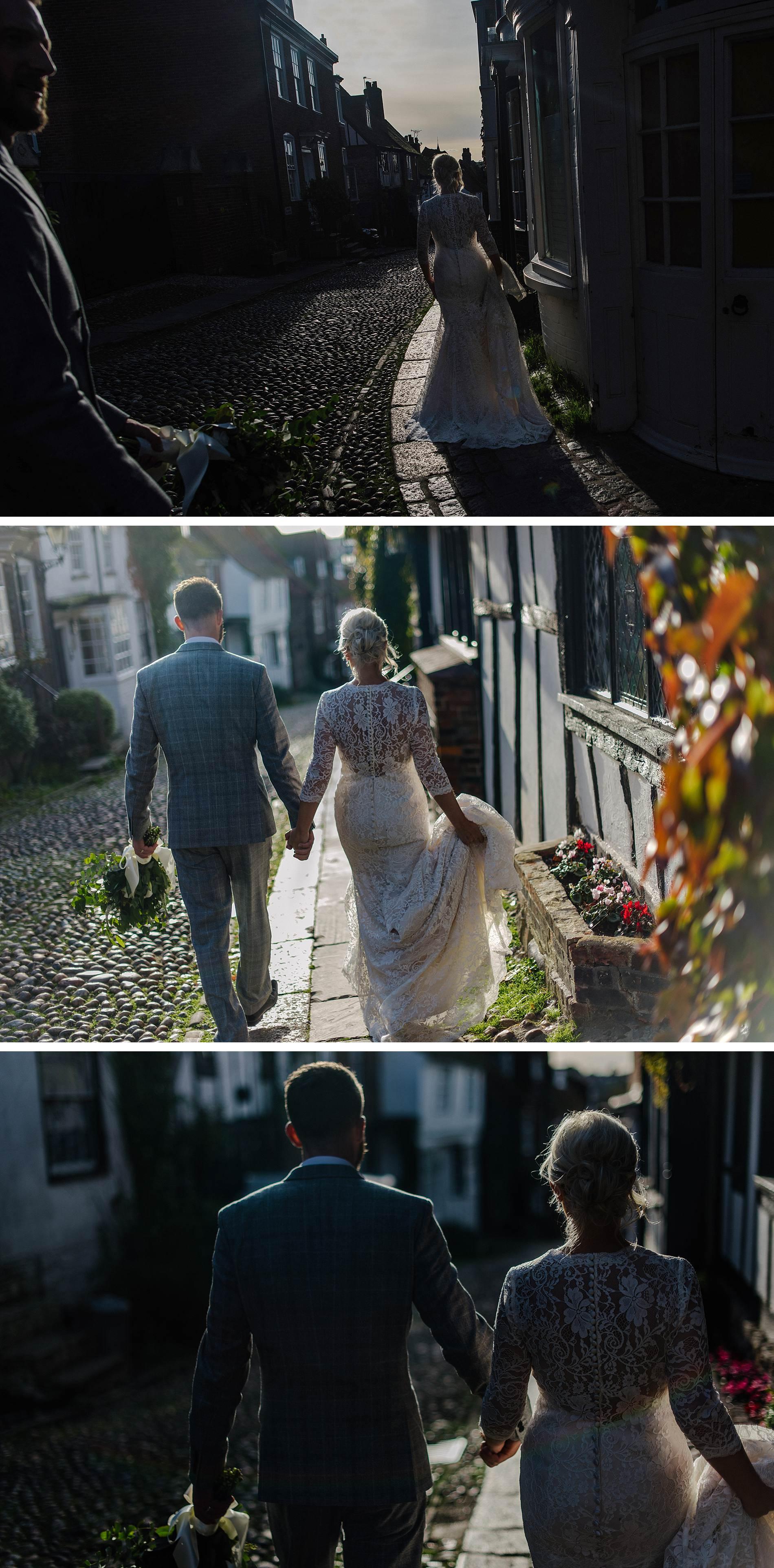 The George in Rye wedding bride and groom walking around Rye