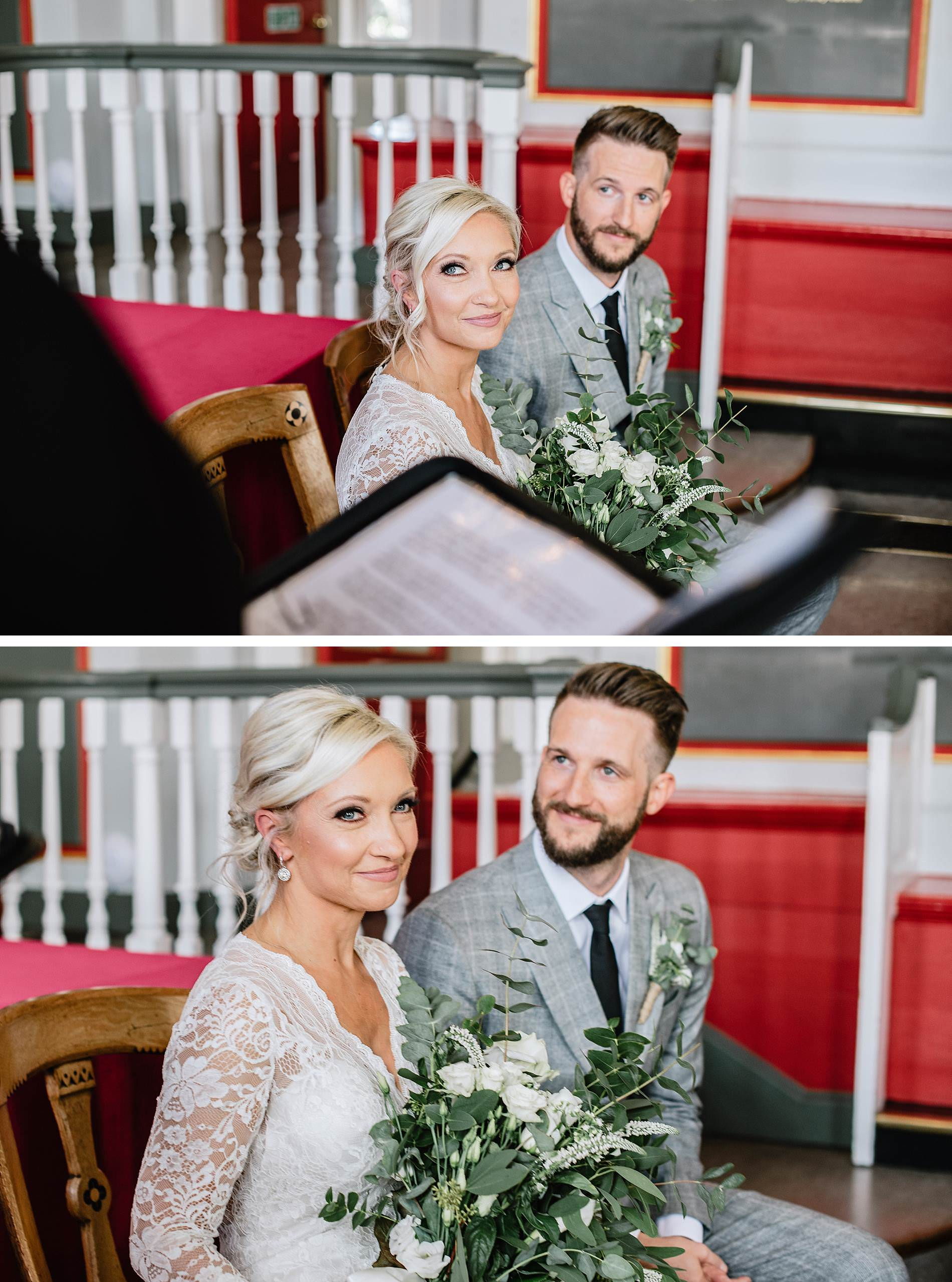 bride and groom in rye town hall wedding