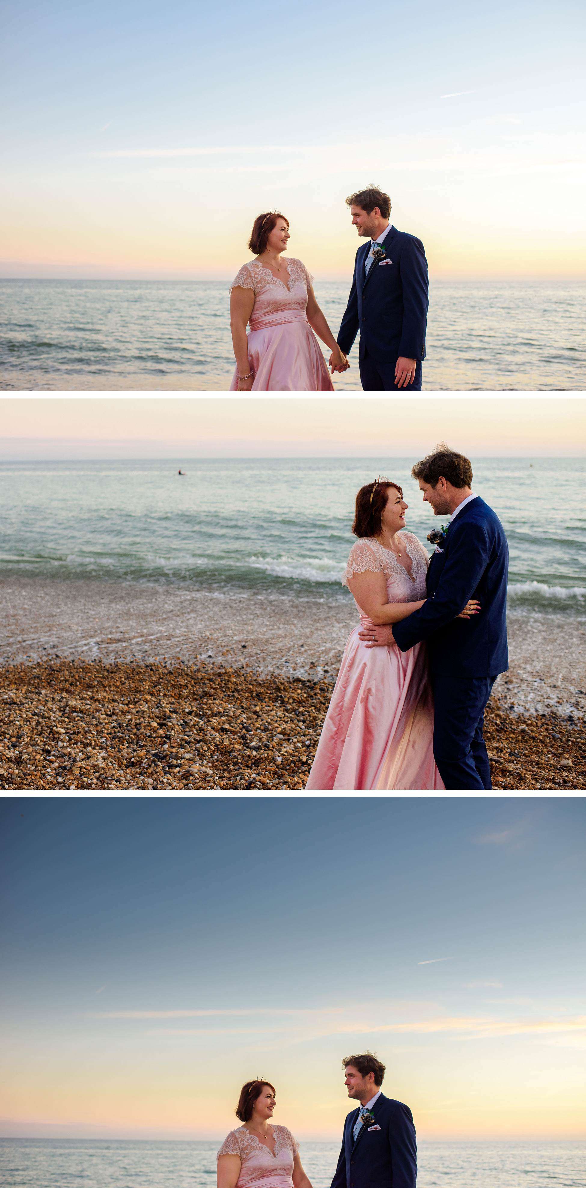 bride and groom at sunset on brighton beach
