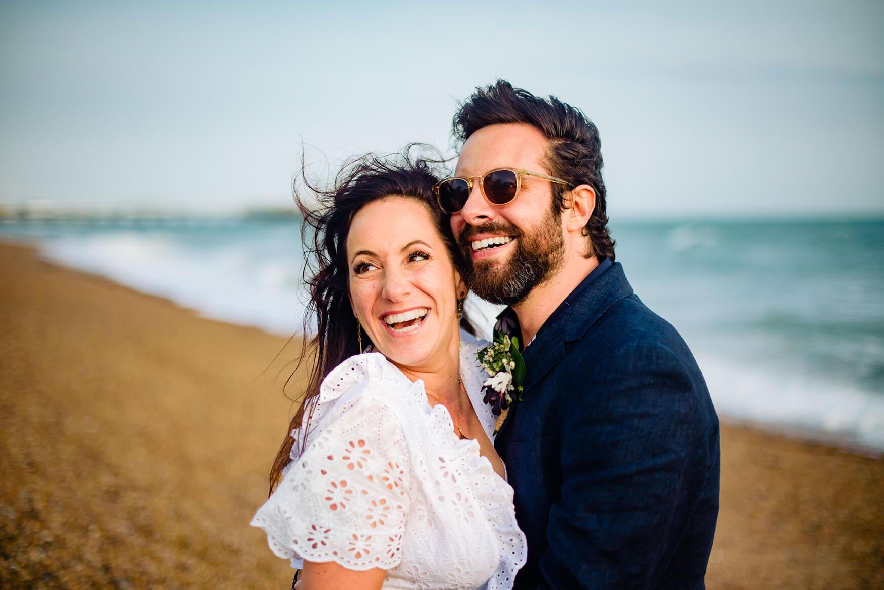 bride and groom on Brighton beach